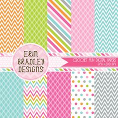 Instant Download Crochet Goodies Digital Papers Polka Dots Stripes & Chevron Patterns Commerical Use OK
