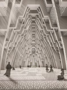 Layered internal space of Iskon temple in Ahmedabad, India by Sanjay Puri Architects Layered Architecture, Temple Architecture, Indian Architecture, Architecture Design, Cladding Design, Meditation Center, Meditation Prayer, The Neverending Story, Temples