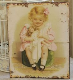 Vintage style Girl and doll metal plaque