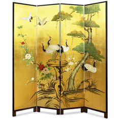 Hand-Painted Gold Leaf Floor Screen - Asian - Screens And Room Dividers - by China Furniture and Arts How To Clean Furniture, Cool Furniture, Furniture Buyers, Chinoiserie, Feng Shui, Floor Screen, Japanese Wall, Tree Canvas, Oriental Furniture