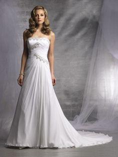 Chiffon Softly Curved Neckline Directionally Ruched Bodice A-line Wedding Dress