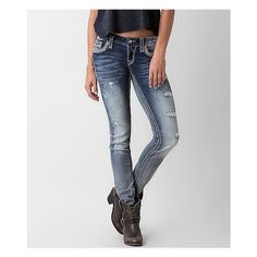 Rock Revival Luiza Skinny Stretch Jean ($169) ❤ liked on Polyvore featuring jeans, blue, ripped jeans, destructed skinny jeans, ripped skinny jeans, blue skinny jeans and rock revival skinny jeans