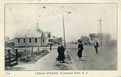 Cedar Street in Townsend's Inlet, NJ about Trinity Lutheran Church is in the left background Sea Isle City, Friends Laughing, History Projects, Cape May, Lutheran, Vintage Photographs, Street, Walkway, Vintage Pictures