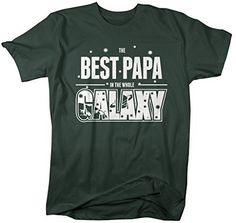 7ed15a82bf Shirts By Sarah Men's Funny Best Papa In Galaxy Shirt Father's Day Tees  Space Father's Day