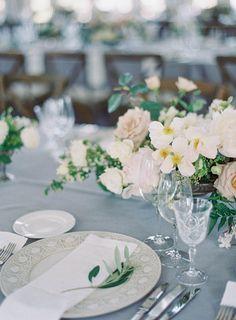 Jen Huang  Carneros Inn Wedding  Hilltop Dining Room Studio Mondine Florals La Tavola Blue Linens