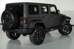 Custom Black Kevlar Coated 2014 Jeep Wrangler Unlimited: Rear-Side View