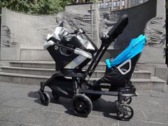 """Double stroller """"face you neighbor"""" with a handle above the sit Orbit Baby, Double Strollers, Baby Strollers, Double Helix, Buggy, Baby Gear, Nyc, Shopping Bags, Baby Things"""