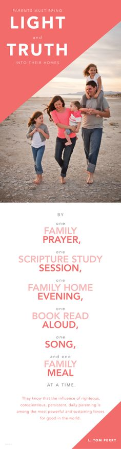 Parents bring light and truth into their homes one family prayer, one session studying the scriptures, one FHE, one song, and one homemade dinner at a time. Family Home Evening, Family Night, Prayer For Family, Families Are Forever, Lds Quotes, Prayer Quotes, Funny Quotes, Church Quotes, Lds Church