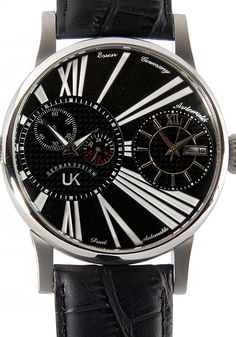9f80123db18 UK German Design DualTimer Automatic Black Leather Watch 27005 2A Black  Leather Watch