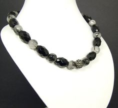 Genuine Faceted Black Agate Faceted Tourmalinated Quartz Gray Austrian Crystal Necklace by Visions of Emeralds on Etsy, $59.99