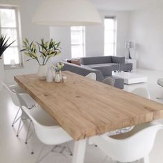 Cool Gorgeous Scandinavian Interior Design Ideas You Need to Know – scandinavian interior design, scandinavian interior, scandinavian design, scandinavian furniture, scandinavian living r . ♣ WHITE I would fill this giant room with love and family. Natural Wood Table, White Wood Table, Design Tisch, Wooden Dining Tables, Oak Table, Dining Chairs, Interior Decorating, Interior Design, Dining Room Design
