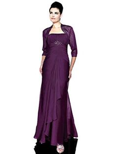 Moonlight Celebrations MB7093 Mother of the Bride Dress with Jacket, Purple, 10 - Strapless Ruched Bodice; Sheer 3/4 Sleeve Bolero Jacket, Ruched Waist; Beaded Accent;  Long Draped A-Line Skirt; Chiffon