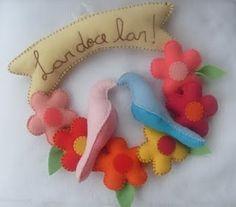 !!!!♥ Feltro-Aholic ♥ Moldes e pap em feltro e feltro estampado!: Guirlanda de Passarinhos e Flores - Molde