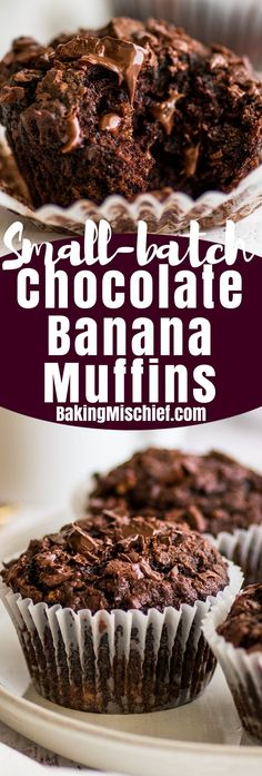 The BEST Chocolate Banana Muffins you'll ever eat. This easy small-batch recipe makes 5 muffins. You just need one ripe banana and one bowl, and you can be pulling these out of your oven in less than half an hour. | #breakfast | #chocolate | #bananamuffins | #breakfastfortwo |