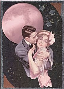 $39 Pink full moon art nouveau romance, vintage Harrison Fisher Art Deco couple image,Print is From an original mixed media painting, 5x7
