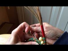 Inserting beads into pine needle baskets - YouTube