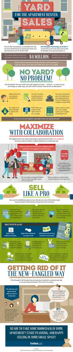 Hosting a #yardsale can be difficult when you don't have a yard, as many #apartment residents don't. Here are ideas on how to cash in on the trend when you don't have a lot of space to sell your stuff. #infographic #makemoney #renter