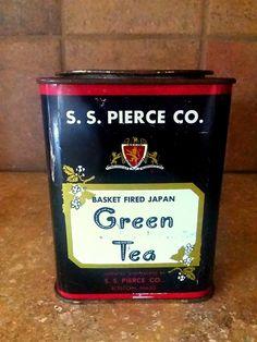 Paper Ribbon, Tea Tins, Vintage Green, Teas, Black Backgrounds, Lunch Box, Basket, Japan, Etsy Shop