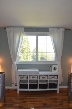 Project Nursery - Twin Nursery Window Treatments. Storage unit and change table idea.