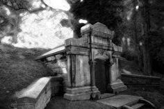 The Vampire Crypt Photograph Black and White by MollysMuses graveyard cemetery print