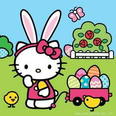 Happy 🐰🎀How many Easter eggs do you see? Hello Kitty Outfit, Hello Kitty Clothes, Hello Kitty Art, Hello Kitty Items, Sanrio Hello Kitty, Kitty Kitty, Apple Watch Wallpaper, Wallpaper Iphone Cute, Cartoon Wallpaper