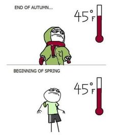 So true! Today @ store, around 1:00ish when temp was actually 45 degrees, I saw a girl wearing shorts & flip flops...she must of left home @ 7a when it was 64!