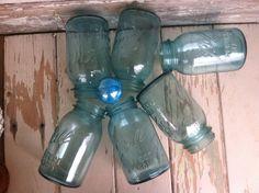 Vintage Sparkling Aqua Mason Jar Collection  6 by happydayantiques