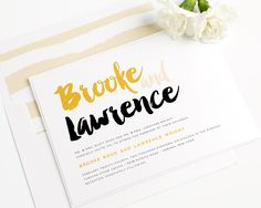 modern black and gold wedding invitations