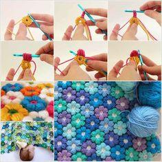 Crochet 6 Petal Puff Stitch Flower Blanket | Creative Ideas
