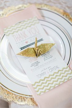 gold glitter origami cranes for place setting decor