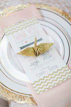 gold glitter origami cranes for place setting decor