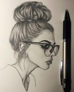 Pencil Art Drawings, Art Drawings Sketches, Cool Drawings, Drawing Faces, Sketch Drawing, Face Sketch, Drawing Style, Pencil Sketching, Drawing Women Face