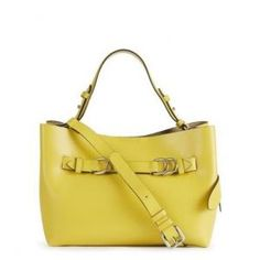 Reiss Mini Leather Yellow Bleecker Structured Tote Bag - 51% Off