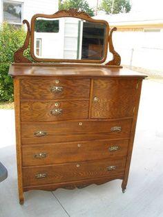 american oak highboy dresser with hat box - Highboy Dresser