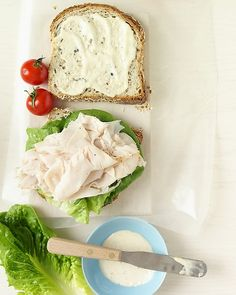 Turkey Caesar Sandwich - open faced with lettuce on top for light version