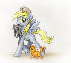Derpy, holding Graystripe,with Sandstorm on her head, and Firestar trailing…