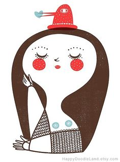 Girl with Bird Hat print - flora chang | Happy Doodle Land #girl #hat #red #bird