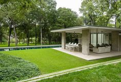 The Dallas architectural firm of Bodron+Fruit did the renovation and designed the pavilion for the new swimming pool.
