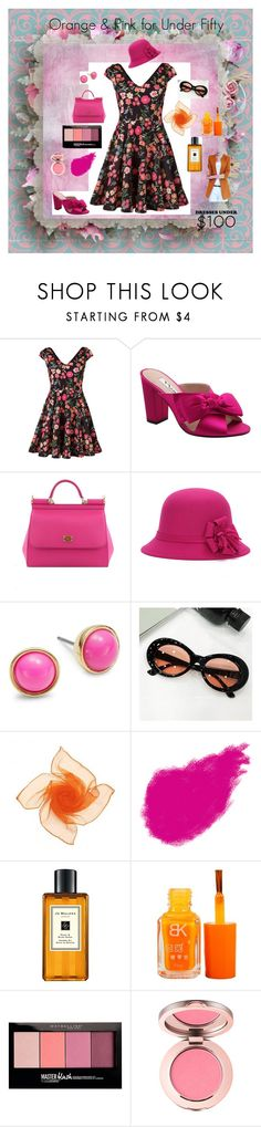 """Orange and Pink! For less than....."" by audkoppe on Polyvore featuring Nina, Paco Rabanne, Kate Spade, Bobbi Brown Cosmetics, Jo Malone, Maybelline and WithChic"