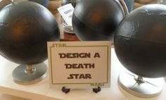 """Design a Death Star - chalkboard paint some globes, there's a basket of chalk and """"Death Star Destroyer"""" erasers. cute activity for a star wars birthday party"""