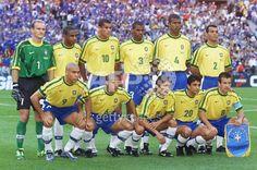 Brazilian players pose for the official team picture, 12 July at the Stade de France in Saint-Denis, before their 1998 World Cup final match against Brazil. (From top left: Claudio Taffarel, Cesar Sampaio, Rivaldo, Aldair, Junior Baiano, Cafu; bottom left, Ronaldo, Roberto Carlos, Leonardo, Bebeto, Dunga)(ELECTRONIC IMAGE) AFP PHOTO PEDRO UGARTE (Photo credit should read PEDRO UGARTE/AFP/Getty Images)
