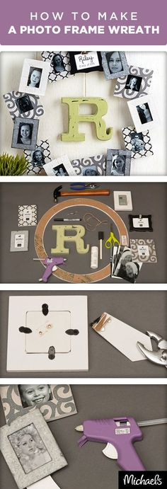 Share memories of your friends & family with this fun photo frame wreath. In just 4 easy steps, Michaels provides guidance and a one-stop shop for everything you need. You just need to provide the photos. Find all of the materials you need for this projec