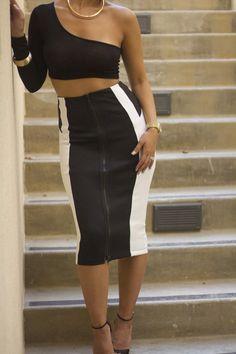 f205730d6e4 Black   White Skirt with Zip Black And White Skirt