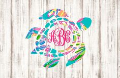 Sea Turtle Monogram Vinyl Decal - Nautical Tropical Printed Southern Lilly Pulitzer Inspired