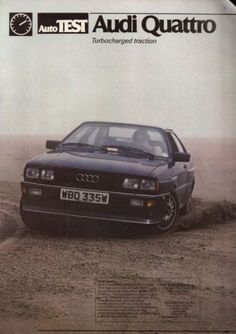 Audi Quattro, WBD355W was an Audi U.K. press car on long-term loan to Autocar Magazine. this pic on a beach was originally used in the magazines' long-term road test report