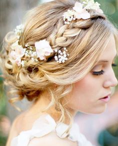Add some flowers to your bridal updo.