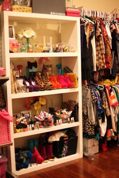 I love the idea of a bookcase in the closet. Shoes on a couple shelves, cute things on others.