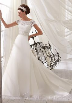 Classic A-line Bateau T-Shirt Beading Chapel Ruffles Wedding Dress - Storedress.com