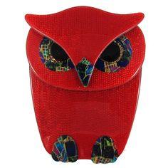 Lea Stein Buba Owl Brooch Red by HarlequinMarketHQM on Etsy