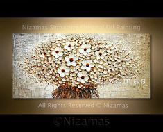 Original heavy Palette Knife White Blooms Contemporary Impasto Floral Oil Painting by Nizamas 48 Ready to hang Modern Oil Painting, Hand Painting Art, Painting Edges, Contemporary Paintings, Oil Painting On Canvas, Canvas Art, Knife Painting, Sell My Art, Wall Art Pictures